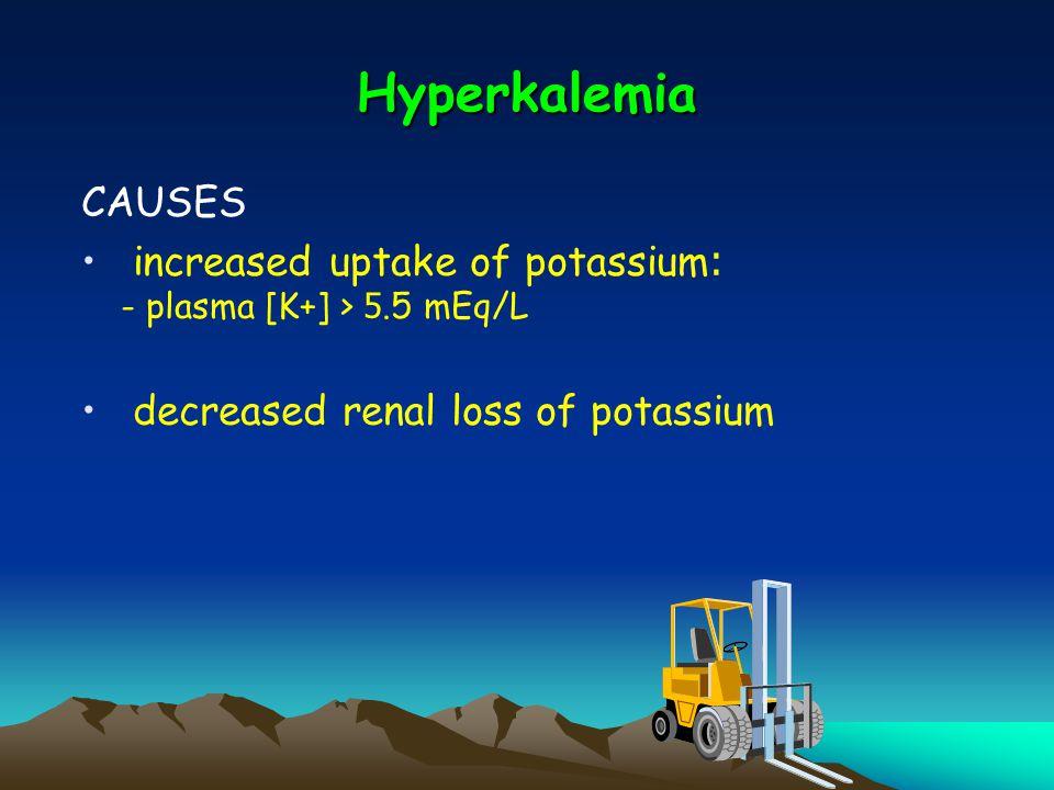 Hyperkalemia CAUSES. increased uptake of potassium: - plasma [K+] > 5.5 mEq/L.